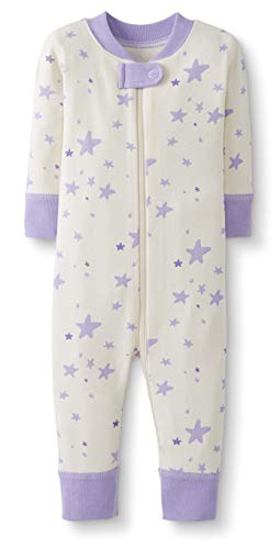 Moon and Back by Hanna Andersson Baby/Toddler One-Piece Organic Cotton Footless Pajamas, Purple Star, 18-24 - Organic Star
