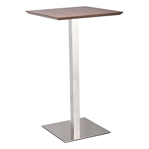 Zuo Modern Modern Desk (Zuo Modern 100052 Malmo Bar Table in Walnut, Square Table Top Paired with a Square Stainless Steel Base, 150 lbs Weight Capacity, Dimensions 23.6