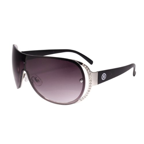 Rhinestone Detail Sheild Style Sunglasses, Designer Style, with Nice Case, Black