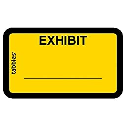 TAB58090 - Legal Exhibit Labels, Exhibit, 1-5/8x1,Yellow, 252 per Pack