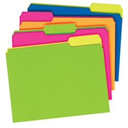 Pendaflex(R) Glow File Folders, Twisted Twin Tabs, 1/3 Cut, 8 1/2in. x 11in, Letter Size, Assorted Colors, Pack Of 24 -
