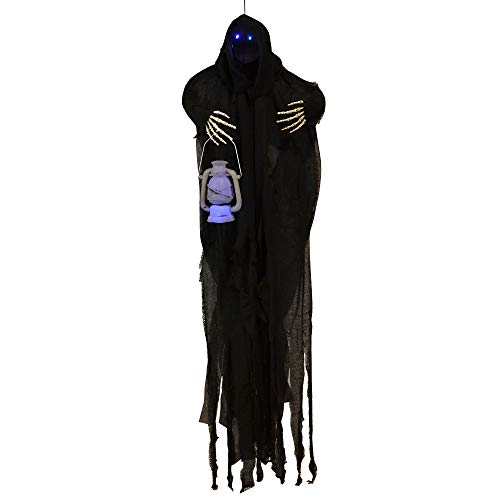 (Sheerlund HG18049 Medium Hanging Grim Reaper with Blue LED Glowing Eyes/Lantern Halloween Decoration Prop, 49 in.,)