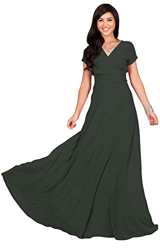 KOH KOH Womens Long Cap Short Sleeve V-Neck Flowy Cocktail Slimming Summer Sexy Casual Formal Sun Sundress Work Cute Gown Gowns Maxi Dress Dresses, Olive Green L 12-14