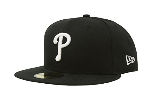 (MLB Philadelphia Phillies Black with White 59FIFTY Fitted Cap, 7 3/4)