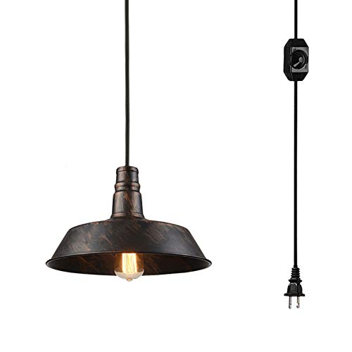 (Kiven Plug-in American Loft Industrial Style Pendant Steampunk Handmade Painted Lighting E26 Base with 15 Feet UL On/Off Dimmable Black Switch Cord (TB0234))