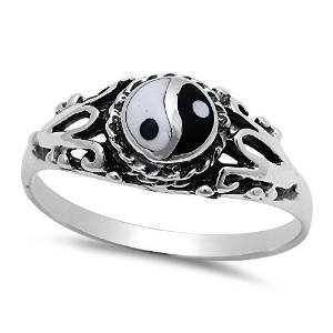Oxford Diamond Co Ancient Chinese Symbol Yin Yang .925 Sterling Silver Ring Size 10