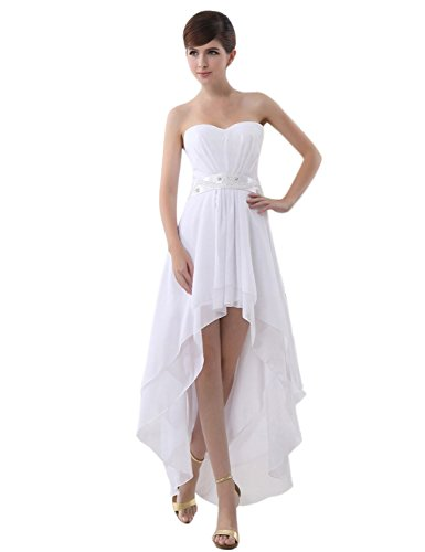 Gowns Bridesmaid Chiffon 013 Prom Strapless anmor Dresses Women's Sweetheart Short ARSD247 white pBcWc8ZO7