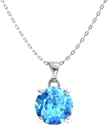 Diamondere Natural and Certified Gemstone Solitaire Petite Necklace in 14k White Gold | 0.31 Carat Pendant with Chain