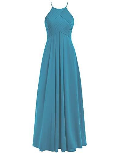 Blau Neckholder Hochzeitskleider 40 Lang Chiffon Linie Rückenfrei Brautjungfernkleider Abendkleider A Ballkleider 5zqwSW8n