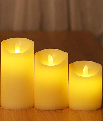 Flameless Candles, 4'' 5'' 6'' Set of 3 Real Wax Not Plastic Pillars, Include Realistic Dancing LED Flames and 10-key Remote Control with 2/4/6/8-hours Timer Function, 300+ Hours-YIWER (3, Ivory) by YIWER (Image #3)