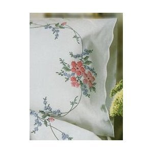 Stamped Pillowcase Pair For Embroidery 20x30-Reflections