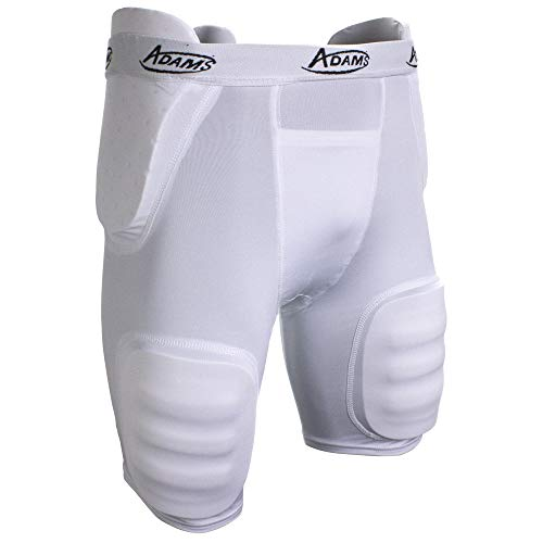 Adams High Rise Youth All-in-One Football Girdle with Integraded Pads, White, Large