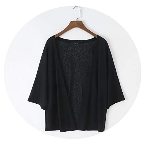 (Women Casual Solid Color Cardigan Sun Protection Coat Ultra-Thin Three Quarter Sleeve Outwear,Black,XL)