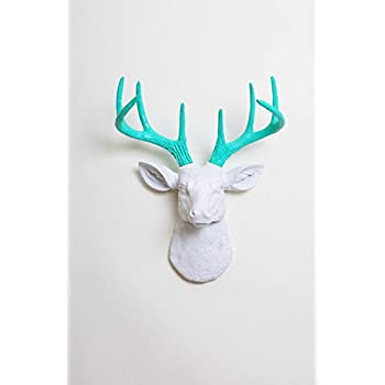 Mini Deer Decor: The Mini Oleg | Miniature Resin White Resin Deer Head w/ Turquoise Wall Decor | Animal Head Wall Hanging Sculpture | Faux Stag Animal Mounts By White Faux Taxidermy