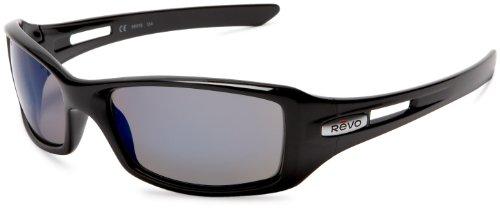 Revo Red Point Rectangular Polarized Sunglasses,Polished Black Frame/Cobalt Lens,one - Sunglass Australian Designer