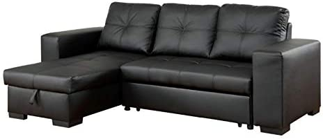 Furniture of America Covington Faux Leather Convertible Sectional in Black