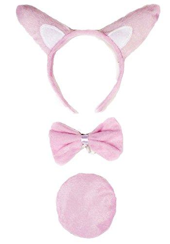 (Petitebella Headband Bowtie Tail Unisex Children 3pc Costume (Pink)