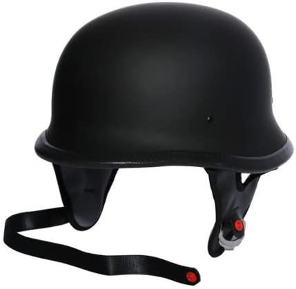 TCMT DOT German Motorcycle Open Face Helmet For Chopper Cruiser Biker Black PU Leather, M