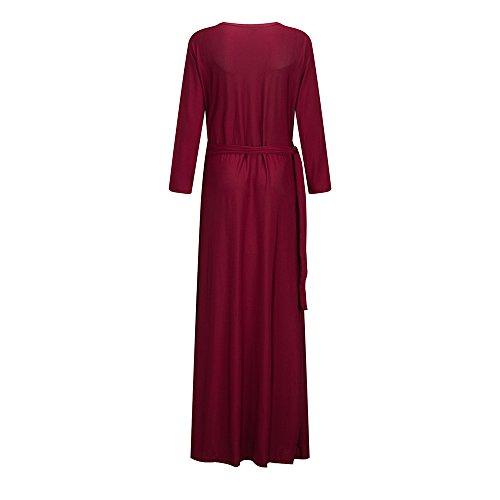 Maxi Dress Party Long Ball V Deep Formal Bow Wedding Belt Neck Sleeve Bewish Red Women's Long Wine Size Plus zOwSFxR76q