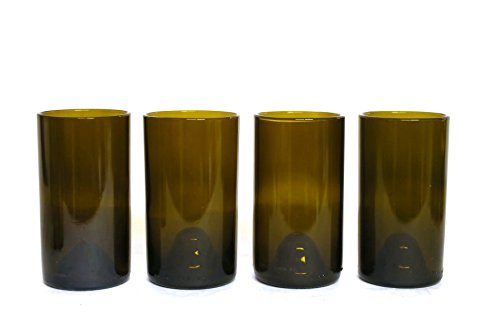 Refresh Glass Recycled Wine Bottle Glasses, 16oz set (Amber) ()