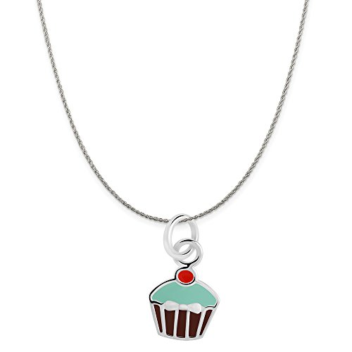 Icing Charm Necklace - Sterling Silver Brown, Blue, Red Enamel Cupcake Charm on a Sterling Silver Rope Chain Necklace, 18