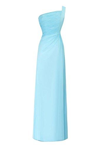 Dasior Une Épaule Femmes Robe De Soirée Longue En Mousseline De Soie Bleu Ciel Glissière Latérale