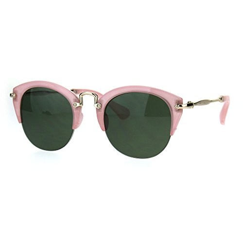 Womens Half Rim Cat Eye Gothic Fashion Retro Vintage Sunglasses Pink - Green Sunglasses And Pink
