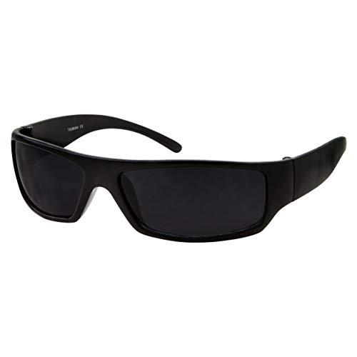 Mens Black Super Dark Sunglasses - Slim Wrap Around Gangster Style (Matte Black) (Sunglasses Biker School Old)