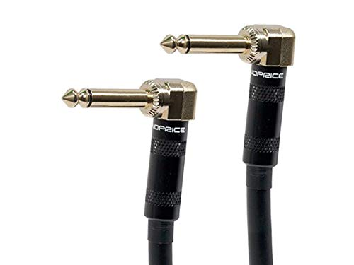 Monoprice Premier Series 1/4 Inch (TS) Right Angle Male to Right Angle Male 16AWG Audio Cable Cord - 3 Feet- Black (Gold Plated)