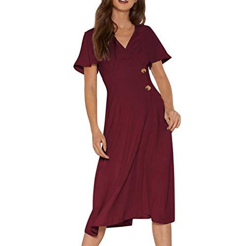 〓COOlCCI〓Women's Summer V Neck Button Down Short Sleeve Swing Mini Dress Midi Dress Sundress Beach Party Maxi Dress Wine ()
