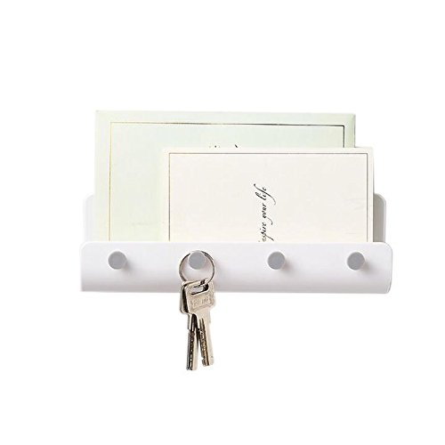 - Chris.W Mail Letter Holder with 4 Key Hooks Organizer for Entryway, Kitchen - Self-Adhesive Wall Mount, White