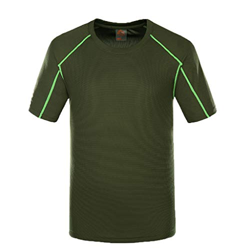 (JOYFEEL Men's Quick-Dry Elastic Fitness Athletic Shirts Compression Workout Summer Sports T-Shirt Blouse Army Green)