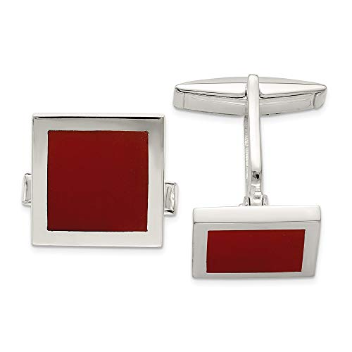 925 Sterling Silver Red Agate Cuff Links Mens Cufflinks Link Man Fine Jewelry Gift For Dad Mens For - Cufflinks Gemstone 14k