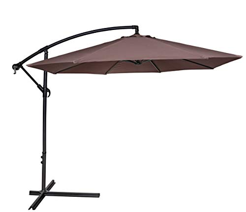HERMO 123456 10 Ft Outdoor Offset Cantilever Patio Hanging Table Umbrella, Brown ()