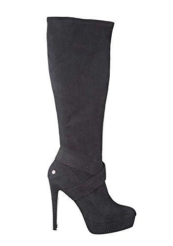 Melrose Damen-Schuhe Stiefel mit Steinen Schwarz Größe 40