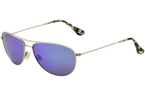 Maui Jim Sunglasses Silver Shiny/Blue Titanium - Polarized - - Sunglass House