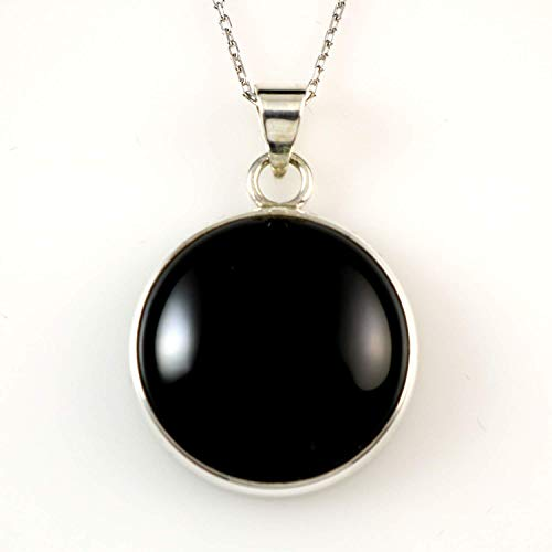 Sterling Silver Natural Round Black Onyx Handcrafted Pendant Necklace 16+2 inches Chain (Diameter 0.73 inches)