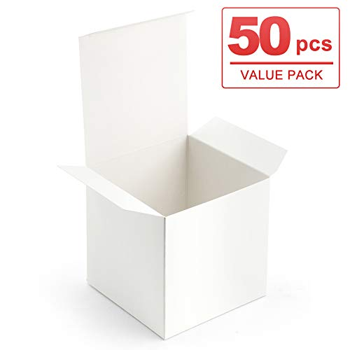 ValBox 4x4x4 White Gift Boxes 50PCS Kraft Paper Boxes with Lids for Gifts, Crafting, Cube, Cupcake Boxes, Easy Assemble Boxes for Party Favor