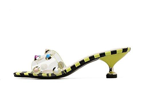 PVC Toe DANDANJIE Le Donne Womens e Moda per Open Sandals Infradito Rivet Pantofole Summer giallo Scarpe wwEFx8q4r