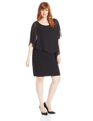 Adrianna Papell Women's Plus-Size Chiffon-Overlay Dress, Black 16W