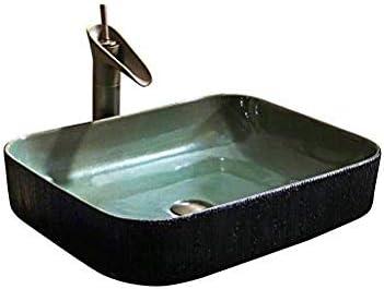 セラミックレトロなアートスクエアアンティーク洗面産業スタイルのシンプルなダークグリーンパーソナリティ(53X41X13Cm)バスルームシンク