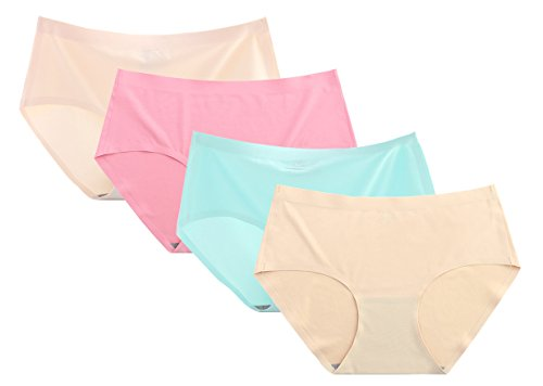Seaoeey Ladies 4 Pack Solid Color Panties Breathable Stretch Briefs Lingerie Beige/Rose/Blue/Apricot One Size(Suitable for 45-55kg)