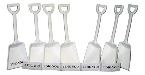 (Small Toy Plastic Shovels White, 30 Pack, 7 Inches Tall, 30 I Dig You Stickers)