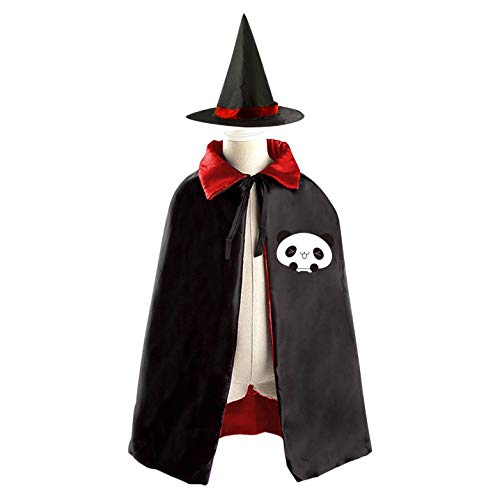 69PF-1 Halloween Cape Matching Witch Hat Cute Panda Emoji Wizard Cloak Masquerade Cosplay Custume Robe Kids/Boy/Girl Gift Red]()