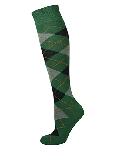 (Mysocks Unisex Knee High Long Socks Argyle Green Ash Black)