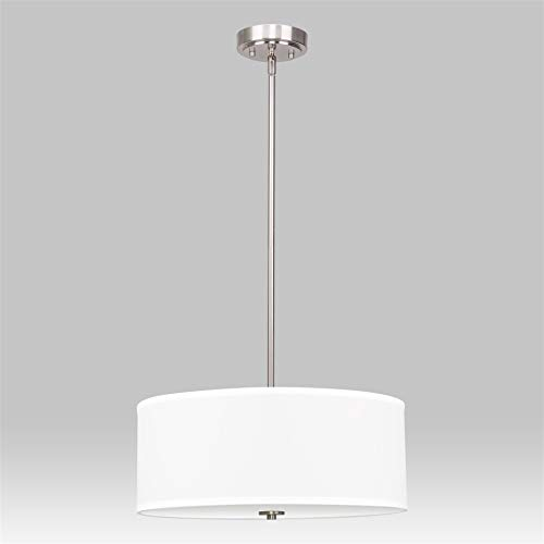 Kira Home Nolan 18'' Classic Drum Chandelier, Stem-Hung Adjustable Height, White Fabric Shade + Glass Diffuser, Brushed Nickel Finish by Kira Home