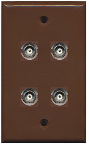 RiteAV 4 Port BNC Female/Female HD-SDI Jack Wall Plate - Brown