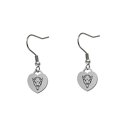 (Marshall Thundering Herd Satin Finish Small Stainless Steel Heart Charm Earrings - See Model for Size)