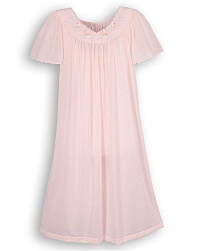 Shadowline Women's Plus-Size Petals 40 Inch Short Flutter Sleeve Waltz Gown, Pink, (Pink Short Nightgown)