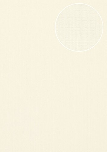 Tone on tone wallpaper wall Atlas COL-497-5 non-woven wallpaper smooth with stripes shimmering cream white light-ivory 5.33 m2 (57 ft2)